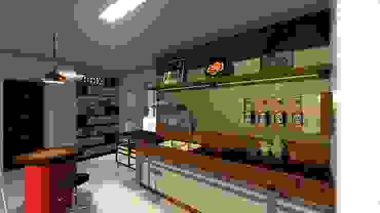 現代廚房設計點子、靈感&圖片 根據 Joana Rezende Arquitetura e Arte 現代風