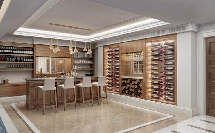 Bar Area / Lake House Eclectic style wine cellar by Sia Moore Archıtecture Interıor Desıgn Eclectic Solid Wood Multicolored