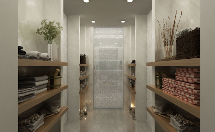 SPA Hall / Lake House Sia Moore Archıtecture Interıor Desıgn Eclectic style bathroom Marble Beige