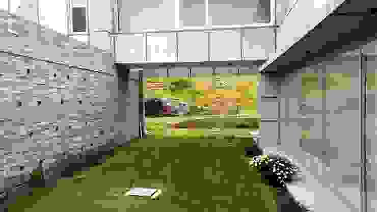 Acceso con patio interior de Brassea Mancilla Arquitectos, Santiago Mediterráneo Concreto