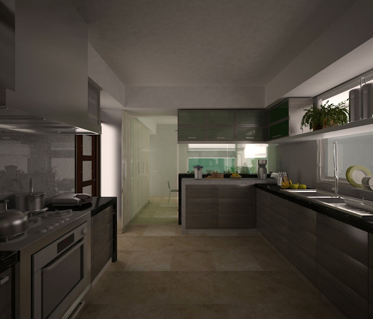置入式廚房 by Arquitecto-Villarino, 現代風 木頭 Wood effect