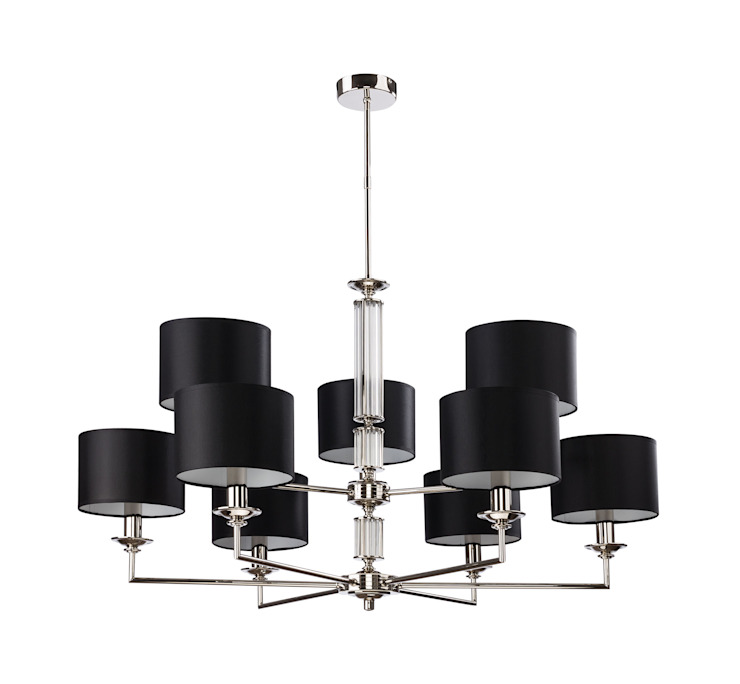 Artu Brass Chandelier 9 Arms Glass NIckel Ceiling Pendant Light Black FABRIC SHADE DOUBLE TIER de Luxury Chandelier Moderno Cobre/Bronce/Latón