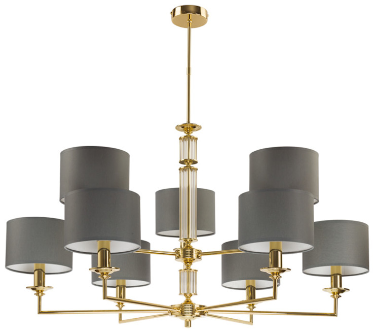 Artu Brass Chandelier 9 Arms Glass Gold Ceiling Pendant Light Dark Grey FABRIC SHADE DOUBLE TIER de Luxury Chandelier Moderno Cobre/Bronce/Latón