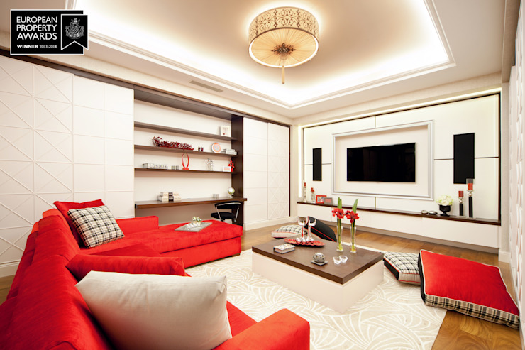 Home Theater Room - 2 / Bosphorus City Villa Classic style living room by Sia Moore Archıtecture Interıor Desıgn Classic Wood Wood effect