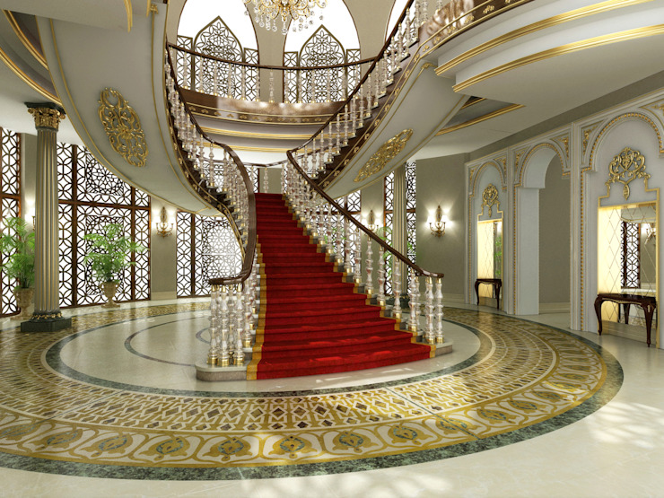 Main Entrance / Pearl Palace Pasillos, vestíbulos y escaleras de estilo clásico de Sia Moore Archıtecture Interıor Desıgn Clásico Mármol