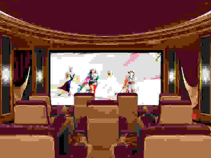 Home Theater Room -1 / Pearl Palace od Sia Moore Archıtecture Interıor Desıgn Klasyczny Lite drewno Wielokolorowy