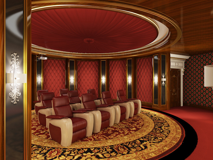 Home Theater Room - 2 / Pearl Palace by Sia Moore Archıtecture Interıor Desıgn Classic Solid Wood Multicolored