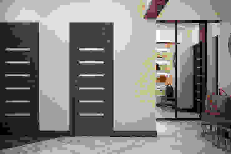 Nowoczesny korytarz, przedpokój i schody od Студия интерьерного дизайна happy.design Nowoczesny