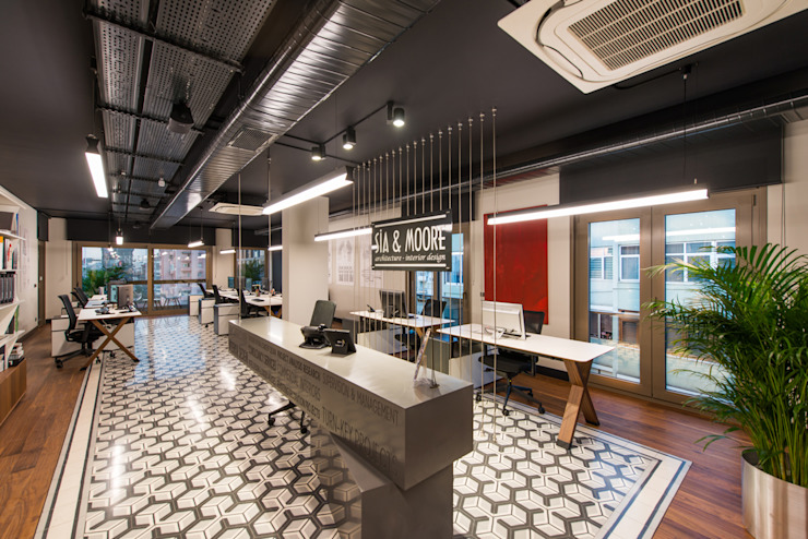 Resepsiyon / Sia Moore Merkez Ofis Sia Moore Archıtecture Interıor Desıgn Endüstriyel Seramik