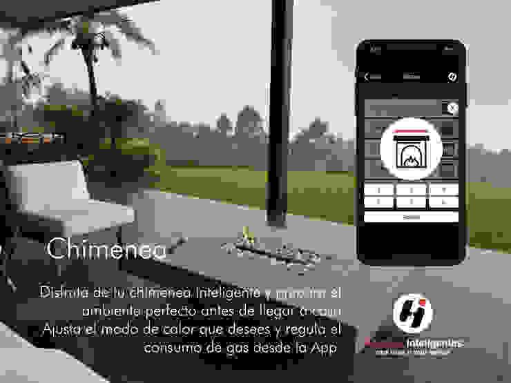 El control de tu chimenea desde nuestra App Balcones y terrazas de estilo moderno de Hogares Inteligentes Moderno
