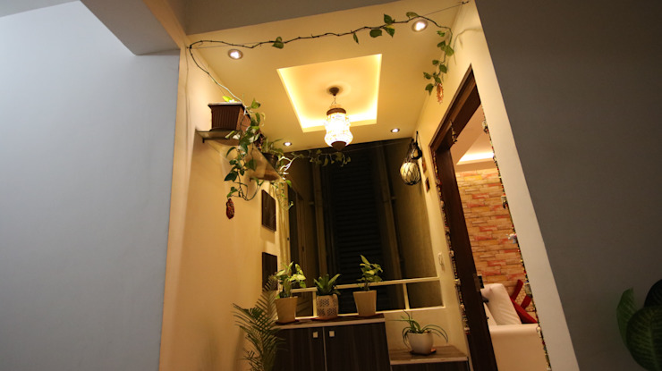 Elegant Corridor Space with Green Plants and Decorative Light Asian style corridor, hallway & stairs by Enrich Interiors & Decors Asian