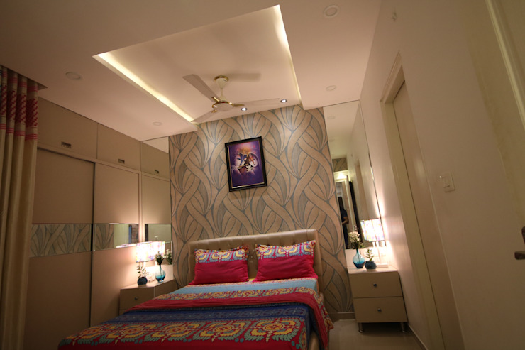 Master Bedroom - Fully Furnished Concept - Warm White light Ambience:  Small bedroom by Enrich Interiors & Decors,Asian