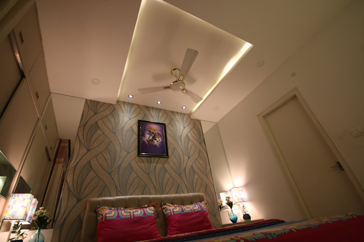 Master Bedroom - Fully Furnished Concept - Warm White light Ambience by Enrich Interiors & Decors Asian