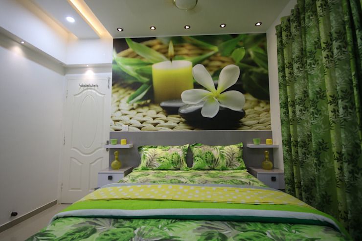 Guest Bedroom - Full Light - False Ceiling View:  Small bedroom by Enrich Interiors & Decors,Asian
