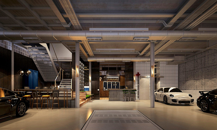 Industrialny salon od Metaphor Design Studio Industrialny