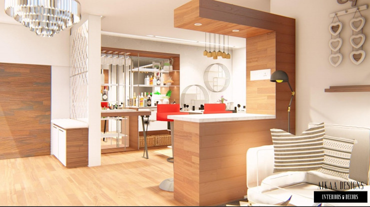 Luxurious 3 BHK Interiors at Chennai Aikaa Designs Modern corridor, hallway & stairs Plywood Wood effect