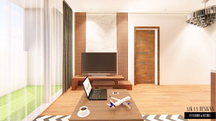 Luxurious 3 BHK Interiors at Chennai Aikaa Designs Modern living room Plywood Wood effect
