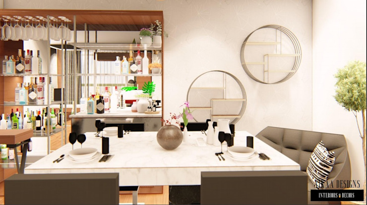 Luxurious 3 BHK Interiors at Chennai Aikaa Designs Modern dining room Plywood