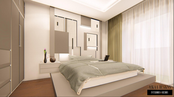 Aikaa Designs Modern Bedroom Plywood Grey