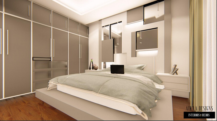 Luxurious 3 BHK Interiors at Chennai Aikaa Designs Modern style bedroom Plywood Grey