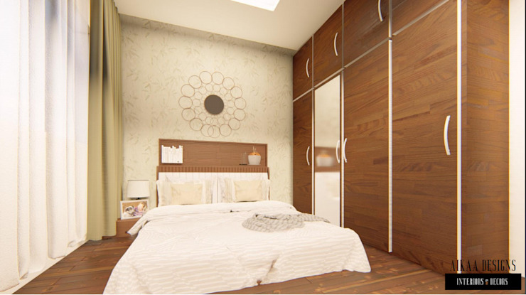 Luxurious 3 BHK Interiors at Chennai Aikaa Designs Modern style bedroom Plywood Wood effect