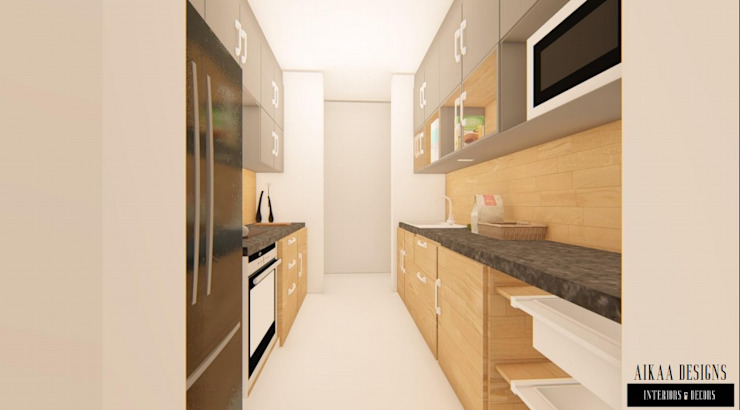Luxurious 3 BHK Interiors at Chennai Aikaa Designs Built-in kitchens Plywood Wood effect