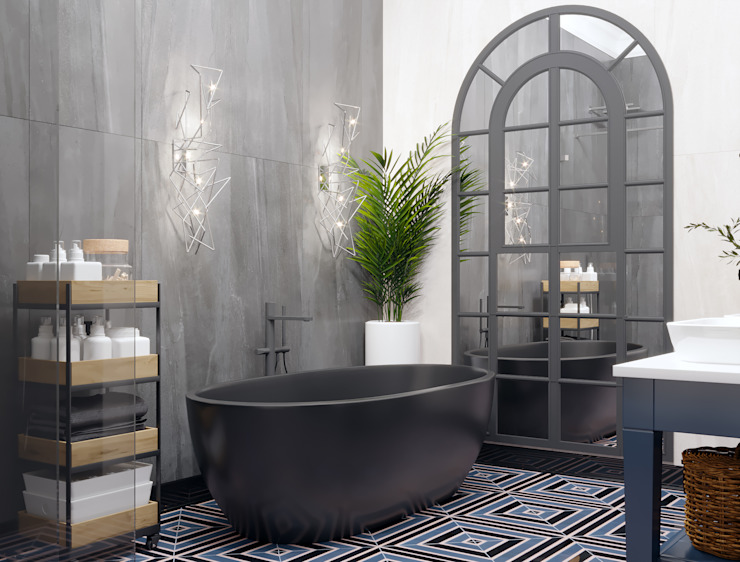 Студия интерьеров EGOIST Eclectic style bathrooms Grey