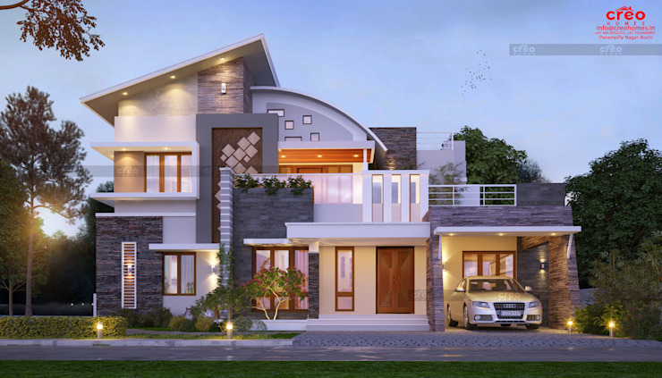 best home designers in kochi:  Balcony by CreoHomes Pvt Ltd,Asian