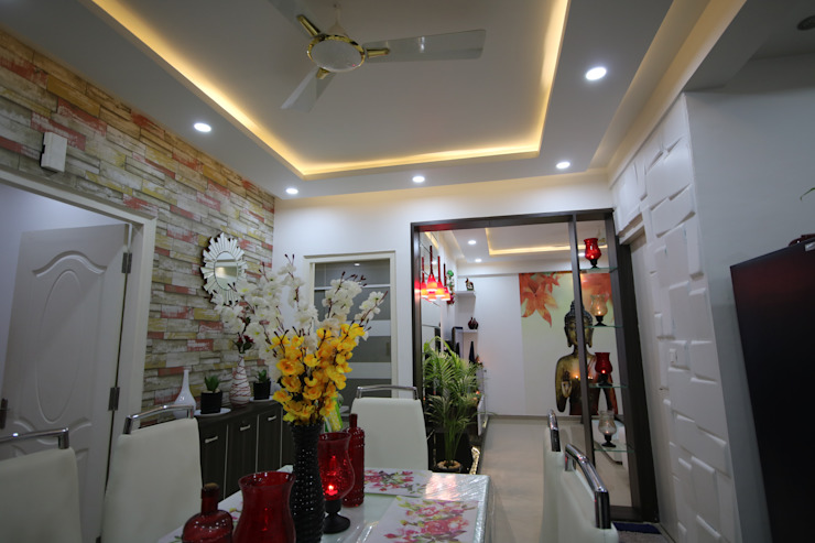 Dining Room - Full White Light Asian style dining room by Enrich Interiors & Decors Asian