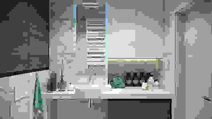 Квартира в ЖК «Комплекс апартаментов «Софийский»» Ванная комната в скандинавском стиле от 'INTSTYLE' Скандинавский Керамика