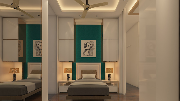 The smaller bedroom :  Small bedroom by Sagar Shah Architects,