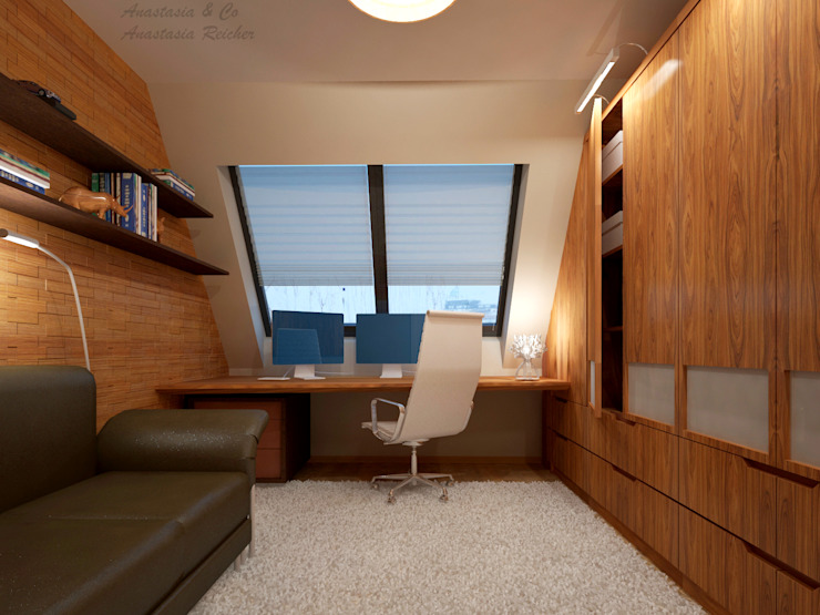 Modern Study Room and Home Office by Anastasia Reicher Interior Design & Decoration in Wien Modern Wood Wood effect
