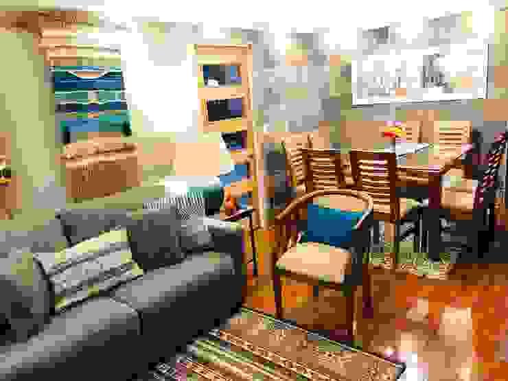 Panorámica living comedor de Oscar Saavedra Diseño y Decoración Spa Rústico