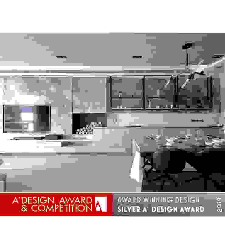客廳/餐廳 现代客厅設計點子、靈感 & 圖片 根據 張立群建築師事務所 |集創國際室內裝修設計有限公司 現代風