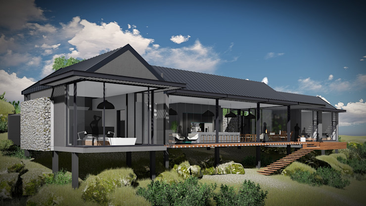 Juan Pretorius Architecture PTY LTD Scandinavian style houses Glass Grey