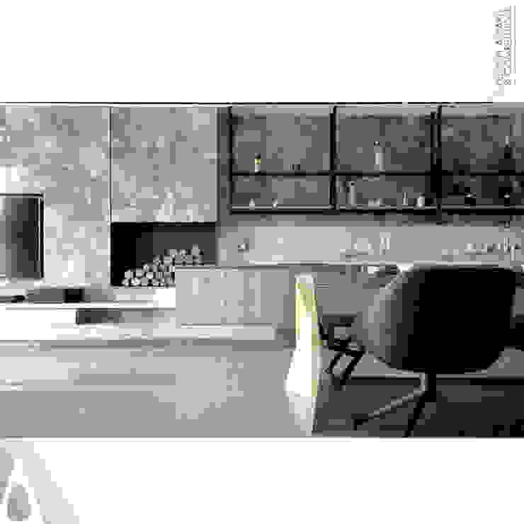細部材質 现代客厅設計點子、靈感 & 圖片 根據 張立群建築師事務所 |集創國際室內裝修設計有限公司 現代風 金屬