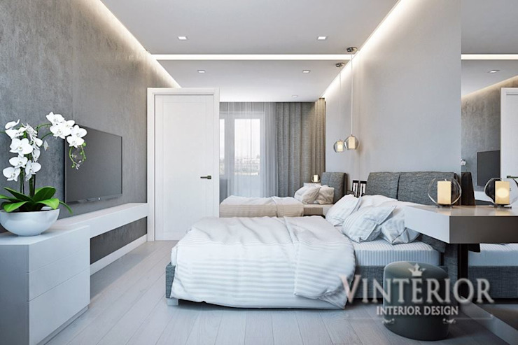 Small and cozy white and grey flat for young woman Modern Bedroom by Vinterior - дизайн интерьера Modern