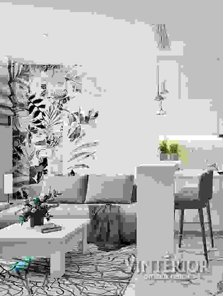 Small and cozy white and grey flat for young woman Cocinas de estilo moderno de Vinterior - дизайн интерьера Moderno
