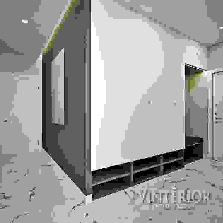 Small and cozy white and grey flat for young woman Pasillos, vestíbulos y escaleras de estilo moderno de Vinterior - дизайн интерьера Moderno
