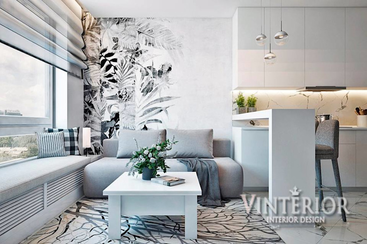 Small and cozy white and grey flat for young woman Modern Living Room by Vinterior - дизайн интерьера Modern