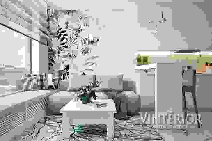 Small and cozy white and grey flat for young woman Salas de estilo moderno de Vinterior - дизайн интерьера Moderno