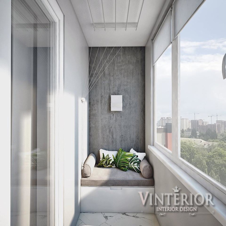 Small and cozy white and grey flat for young woman de Vinterior - дизайн интерьера Moderno