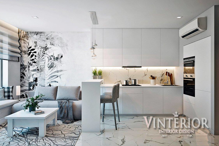 Small and cozy white and grey flat for young woman Modern Kitchen by Vinterior - дизайн интерьера Modern