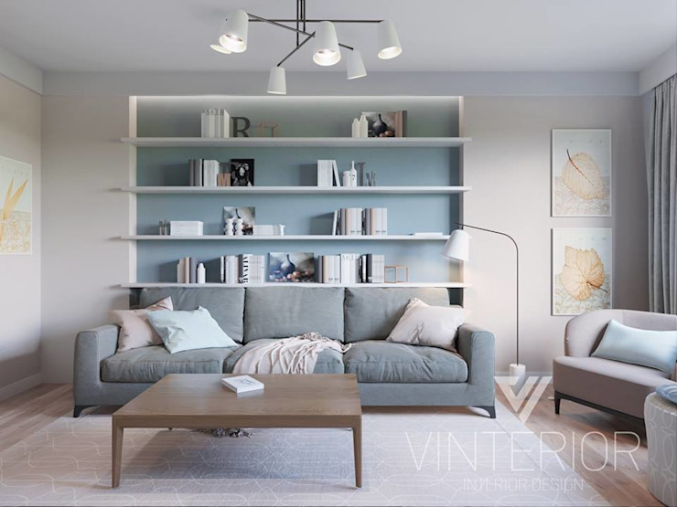 Modern combination of minimalism for young couple Minimalist living room by Vinterior - дизайн интерьера Minimalist