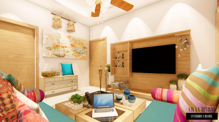 Bohemian Styled Premium Interiors for a 3 BHK at Bangalore:  Living room by Aikaa Designs,