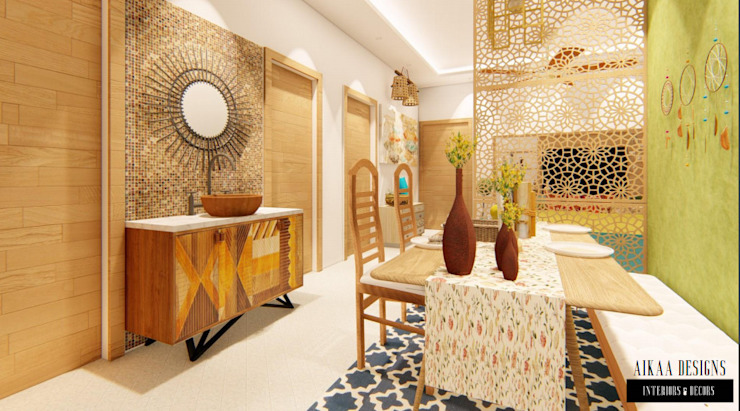 Bohemian Styled Premium Interiors for a 3 BHK at Bangalore:  Dining room by Aikaa Designs,