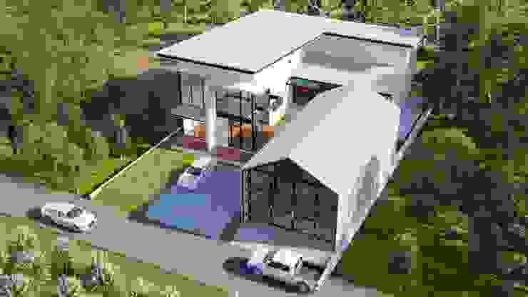บ้านพักอาศัย 2 ชั้น พร้อมสระว่ายน้ำในตัวบ้าน โดย คนมีหนวดดีไซน์ โมเดิร์น คอนกรีต