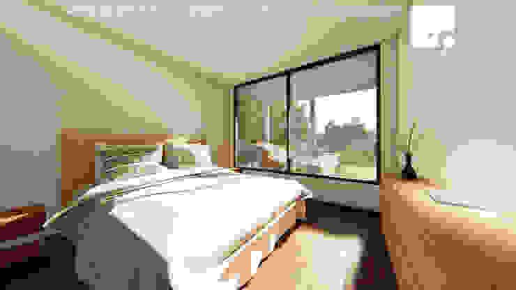 Cabaña 02 - Dormitorio Dormitorios de estilo moderno de Territorio Arquitectura y Construccion - La Serena Moderno