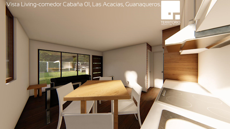 Cabaña 01 - Living Comedor Comedores de estilo moderno de Territorio Arquitectura y Construccion - La Serena Moderno