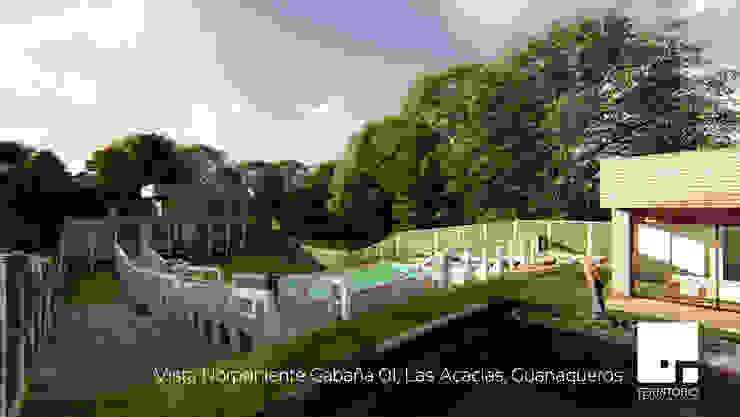 Vista Norponiente de la Cabaña 01 Jardines de estilo moderno de Territorio Arquitectura y Construccion - La Serena Moderno
